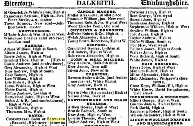 1837 Pigot Directory of Scotland Listing