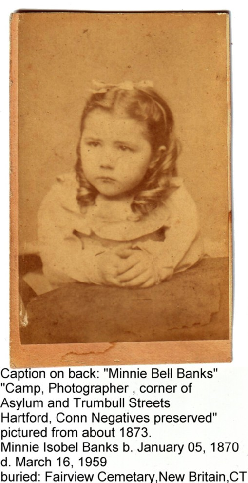carte-de-visite of Minnie Bell Banks about 1873, New Britain, Connecticut
