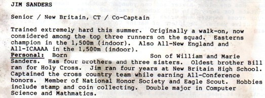 Central Connecticut State University Cross Country Program 1988