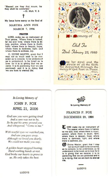 Funeral Card: Fox Children, New Britain, Connecticut: back