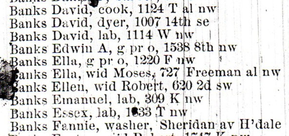 1886 Washington DC City Directory - Edwin Banks