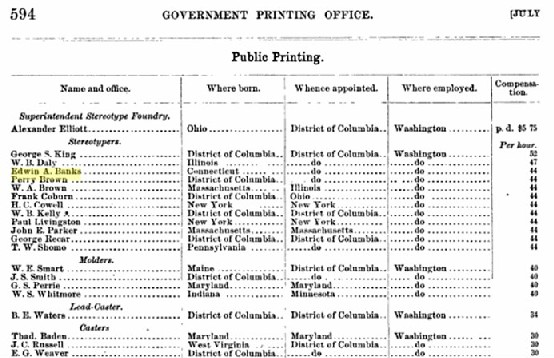 Edwin Banks Government Printing Office Record