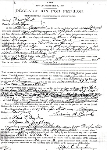 Civil War Pension Record - Edwin Banks - 2nd Connecticut Heavy Artillery