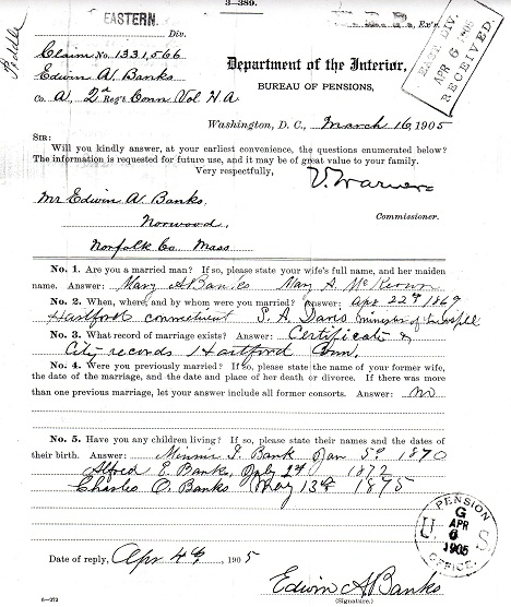 Civil War Pension Record - Edwin Banks - 2nd Connecticut Heavy Artillery - b