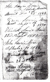 John Laurie, Nicholas Martin Bible record from civil war pension file