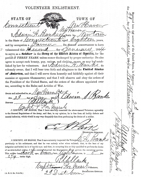Civil War Service Record - Edwin Banks - Enlistment Paper