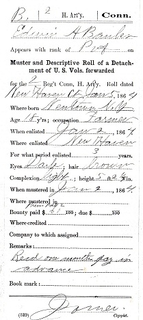 Civil War Service Record - Edwin Banks - Descriptive Roll