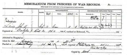 Civil War Service Record - John D Laurie - Prisoner of War