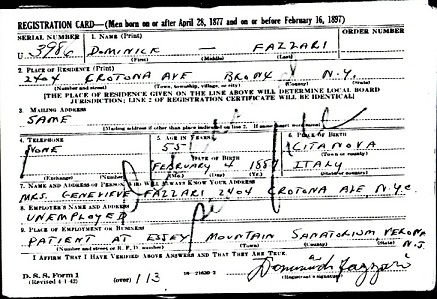 Domenico Fazzari - WWII Draft Registration