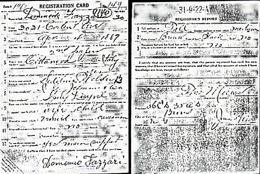 Domenico Fazzari - WWI Draft Registration