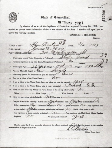 James Fox Connecticut Military Census of 1917