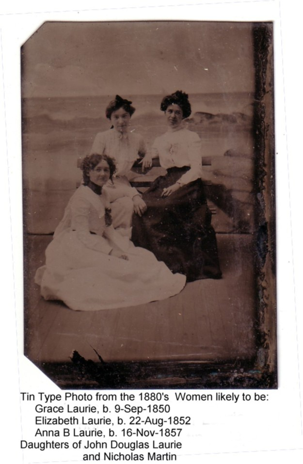 Tin type photo of three ladies
