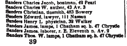 1845 Doggett NYC Directory