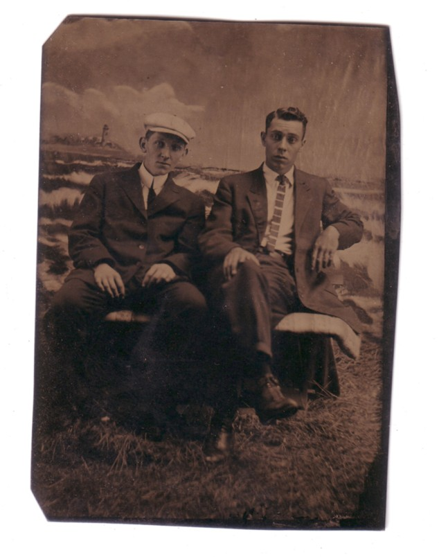 Tin Type Photo - two young men, New Britain, Connecticut